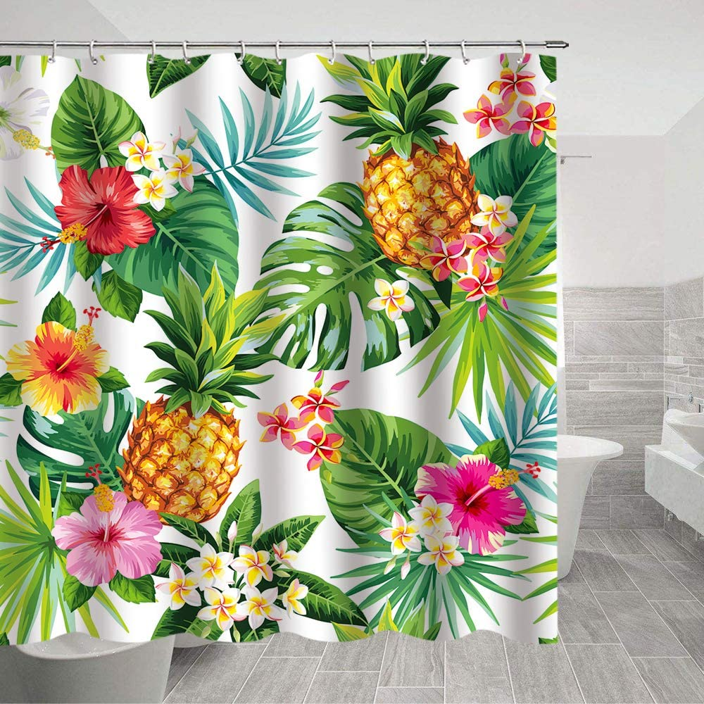 Amazon Com Pineapple Shower Curtain Green Banana Leaf Bath Curtain Fabric Tropical Palm Leaves Shower Curtains 69 X70 Inches With Shower Room Summer Pineapple Shower Curtain Tropical Palm Leaves Hawaiian Kitchen Dining Featuring a green watercolor palm leaf pattern on a white background. pineapple shower curtain green banana leaf bath curtain fabric tropical palm leaves shower curtains 69 x70 inches with shower room summer pineapple
