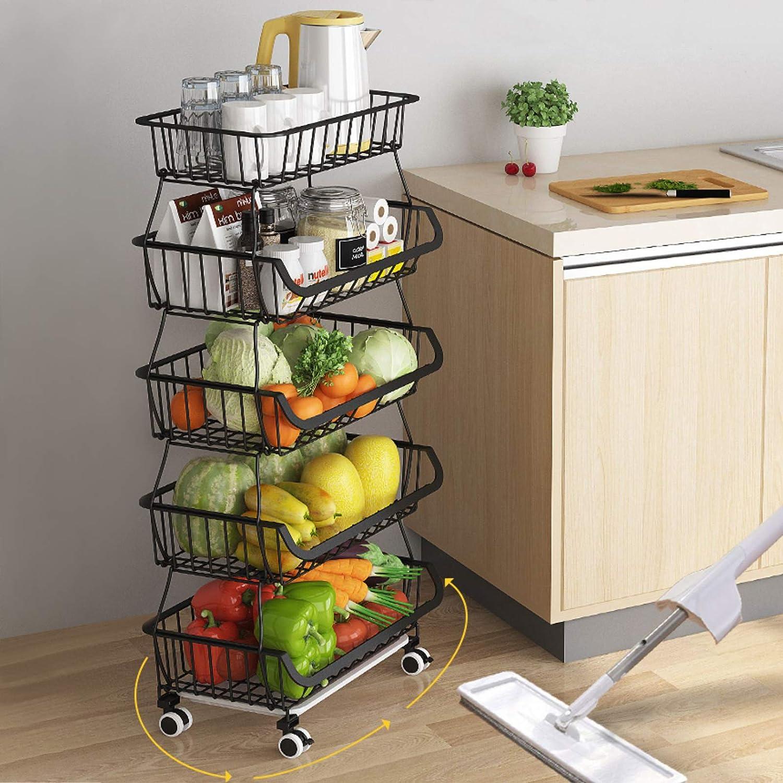 paniers de Cuisine avec Roues Support Utilitaire de Panier de Fruits Roulant empilable /à 3 Niveaux BRIAN /& DANY Panier en Fil avec Roues et Couvercle