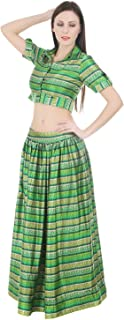 Devaleena Creations Green Satin Printed Seperates two piece shirt and skirt for Girls