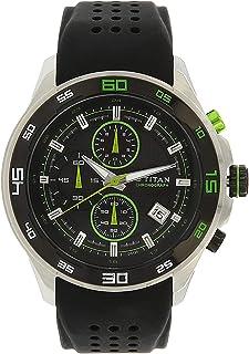 90008KP02 ساعة يد تيتان ريجاليا ، كرونوغراف ، تقويم ، 30 متر مقاومة للماء ، حزام سيليكون ، أسود مع تقليم أخضر