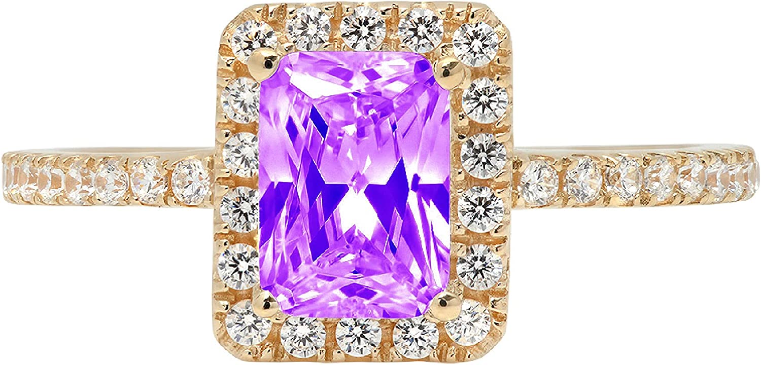 1.85ct Brilliant Emerald Cut Solitaire Accent Genuine Flawless Natural Purple Amethyst Gemstone Engagement Promise Anniversary Bridal Wedding Ring Solid 18K Yellow Gold