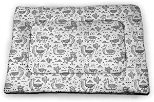 DayDayFun Lion Pad Pet Hand Drawn King of Jungle with an Uplifting Quote Monochrome Illustration Pet Mat Waterproof Black Grey and White