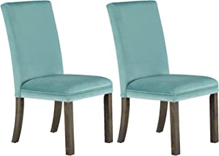Standard Furniture 19405E Parsons Style Dining Chair, Pack of 2 Teal