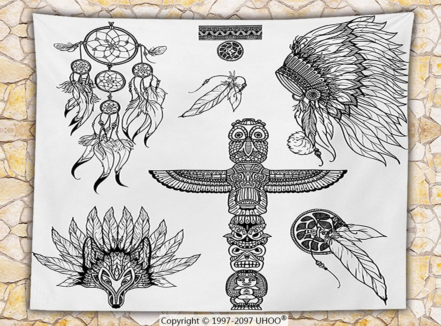 Tribal Decor Fleece Throw Blanket Tribal Doodle Set with Mask of Animal Dream Catcher and Totem Vintage Print Throw Black White