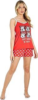 Disney Pijama Mujer Verano, Pijama Corto Algodón con Mickey, Minnie Mouse o Daisy Duck, Conjuntos Mujer Verano con Camiset...