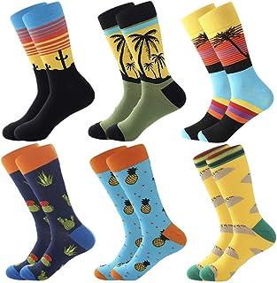 Coloridos Calcetines Para Hombres,Calcetines de Vestir Divertidos, Calcetines de Oficina de Algodón con Estampados Divertidos y Elegantes de Fantasía, Calcetines Locos Geniales