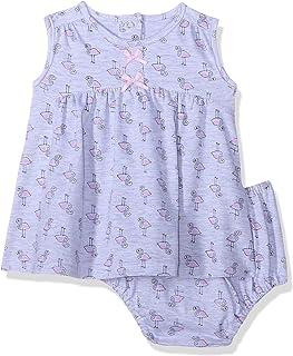 Lumex Flamingo Pattern Sleeveless Dress with Elastic Waist Pantie for Girls 6-9 Months