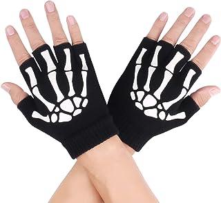Adult Sized Fingerless Skeleton Bones Gloves Halloween Costume Accessory