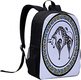 Taurus Individual Backpack,Retro Style Ornamental Featured Circle with the Bull Zodiac Vintage Birthday Design Decorative for School,12″L x 5″W x 17″H