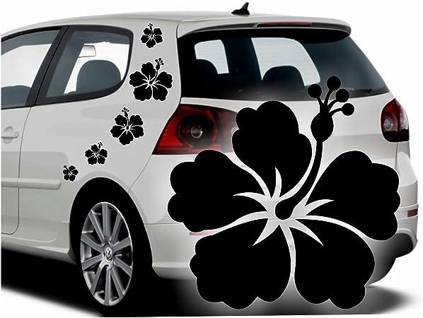 Folistick Hibiskus Hawaii Blumen Aufkleber Set Hibiskusblüten Autoaufkleber 5 Teilig Blau Auto