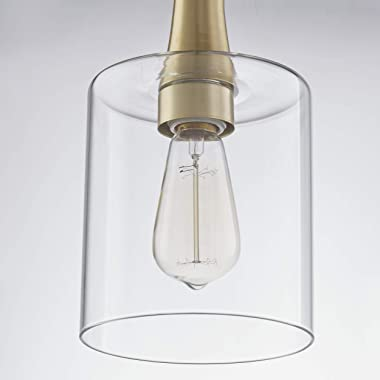 Clear Glass Lamp Shade Modern Cylinder Transparent Lamp Shade with 1-5/8 Fitter Drum Lamp Shade for Floor Lamps, Chandelier,