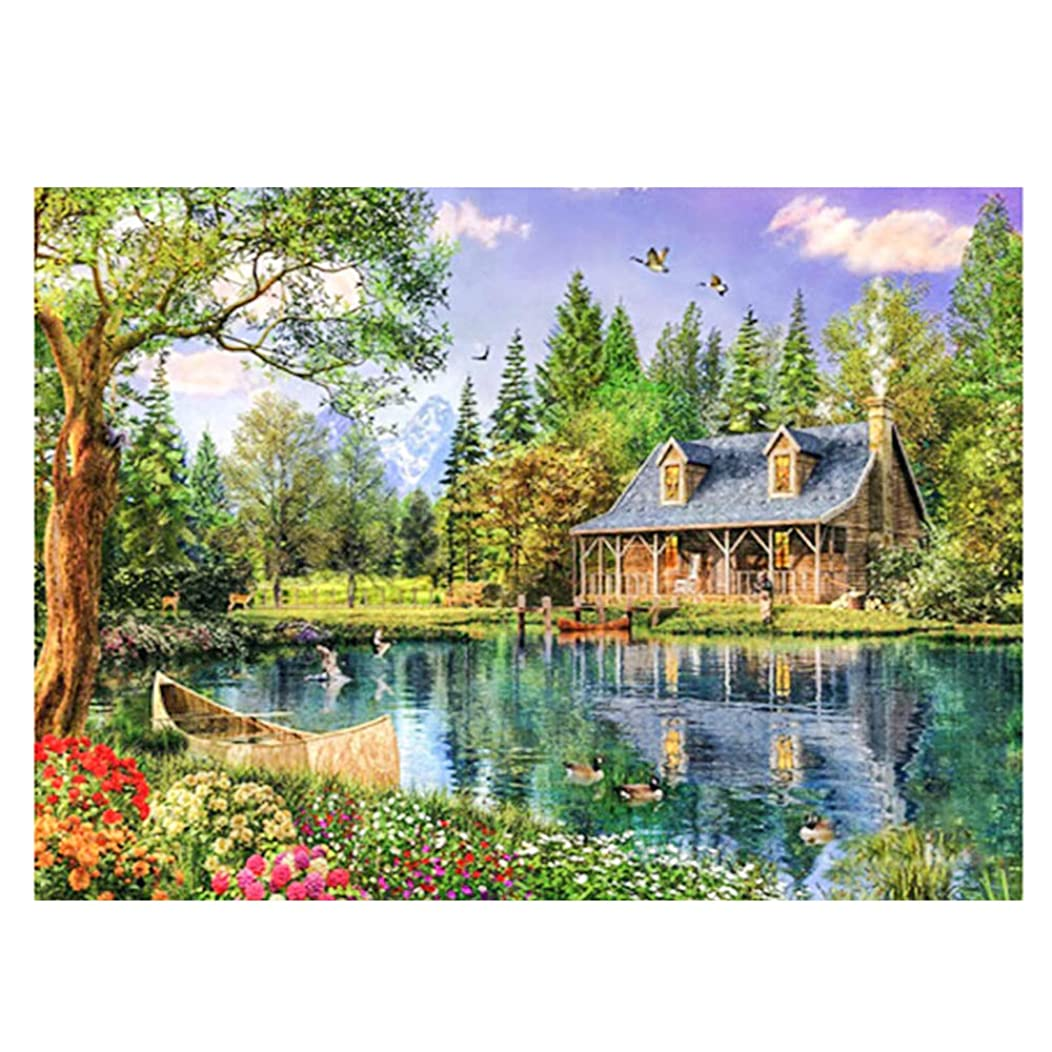 ZEJEUER 5D DIY Diamond Painting Lake House Full Diamonds Handmade Embroidery Kit Home Décor ZS020 (Design 1)