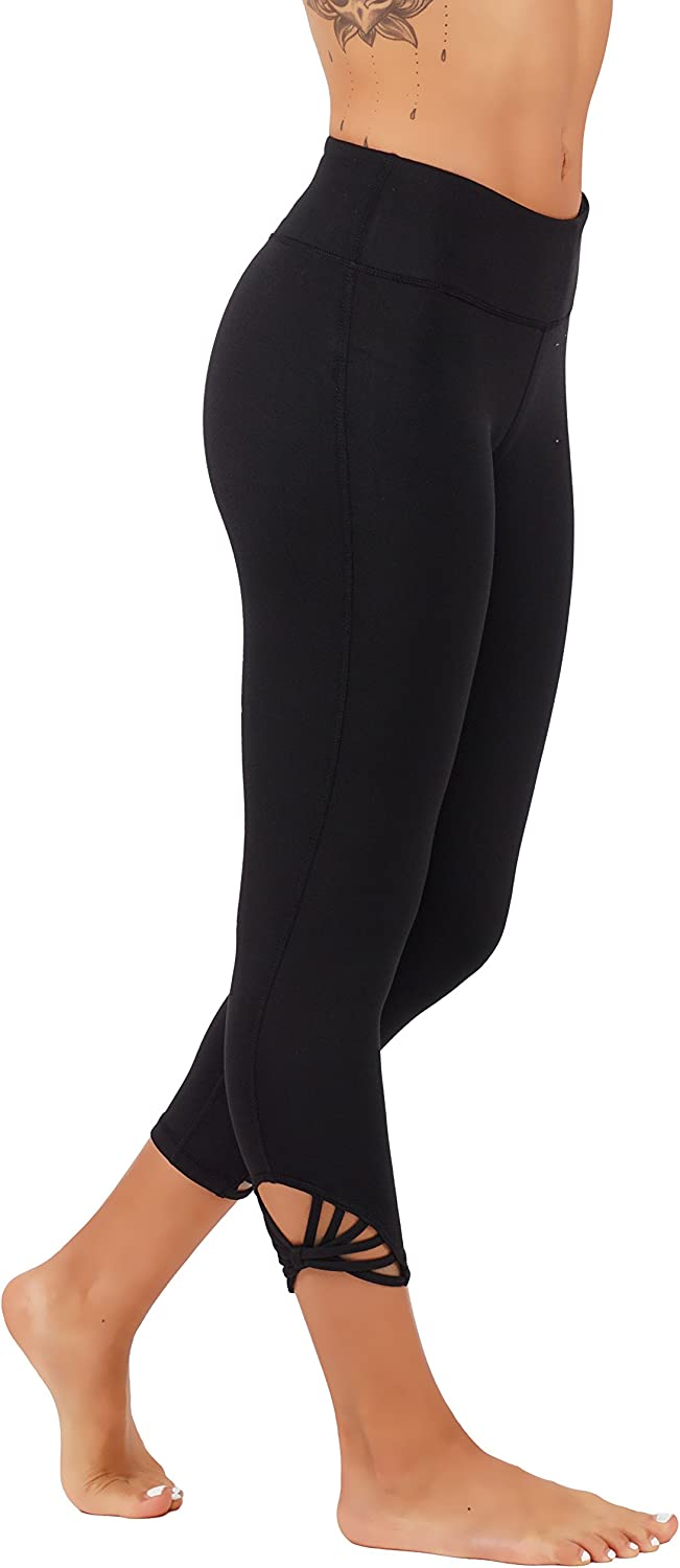 5StarsLine Yoga Leggings Wourkout Pants with Webbed Straps Detailing On Sides and Hidden Key Pocket Running