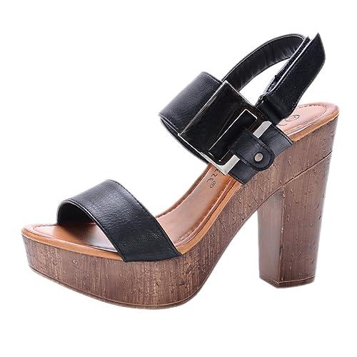 67907e60672 Nature Breeze Women s Maroon-01 Platform Slingback Wood Chunky High Heel  Sandal