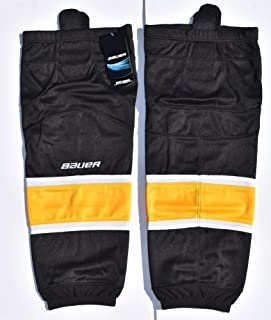 Bauer 800 Series Ice Hockey Sock, Black with White & Gold Stripes, Senior S-M