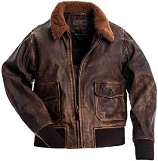 Men's G-1 Military Flight Jacket with Fur-Collar - Distressed Brown World War II Real Fur Real Leather Aviator Flying Jacket