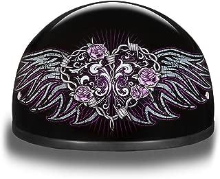 Daytona Helmets Motorcycle Half Helmet Skull Cap- Barbed Wire Heart 100% DOT Approved