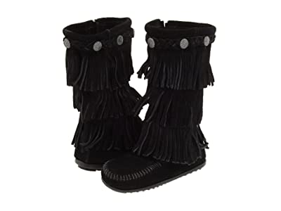 Minnetonka Kids 3-Layer Fringe Boot (Toddler/Little Kid/Big Kid) (Black Suede) Girls Shoes