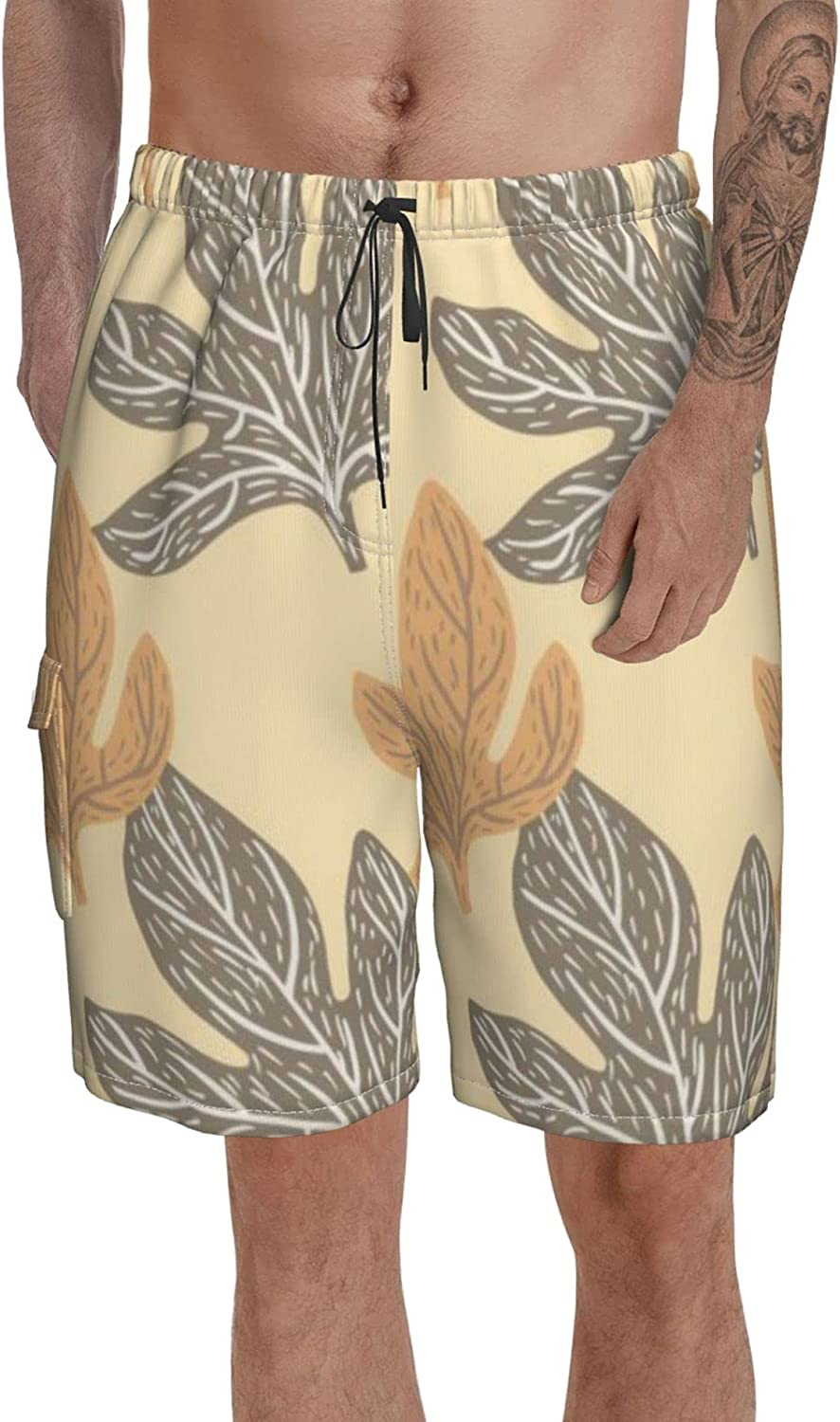 Peacock Feather On Swim Trunks with Pockets Board Short Print Men Summer Shorts