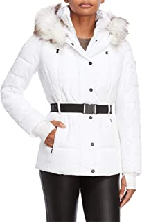 Women's Logo Belted Hood Faux Fur Trim Puffer Coat Short Jacket Lightweight White