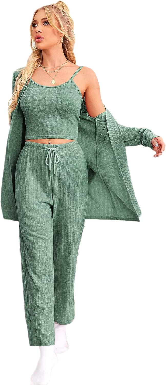 Verdusa Women's 3 Piece Lounge PJ Set Sleepwear Cami Top and Pants with Cardigan