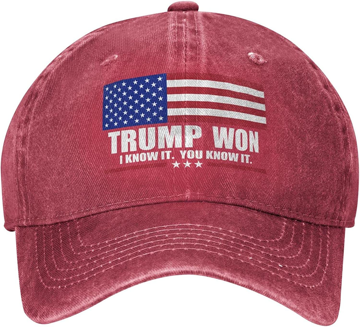 Trump Won I Know It. You Know It. Hat,Save America with American Flag Donald Trump MAGA Adjustable Baseball Cap