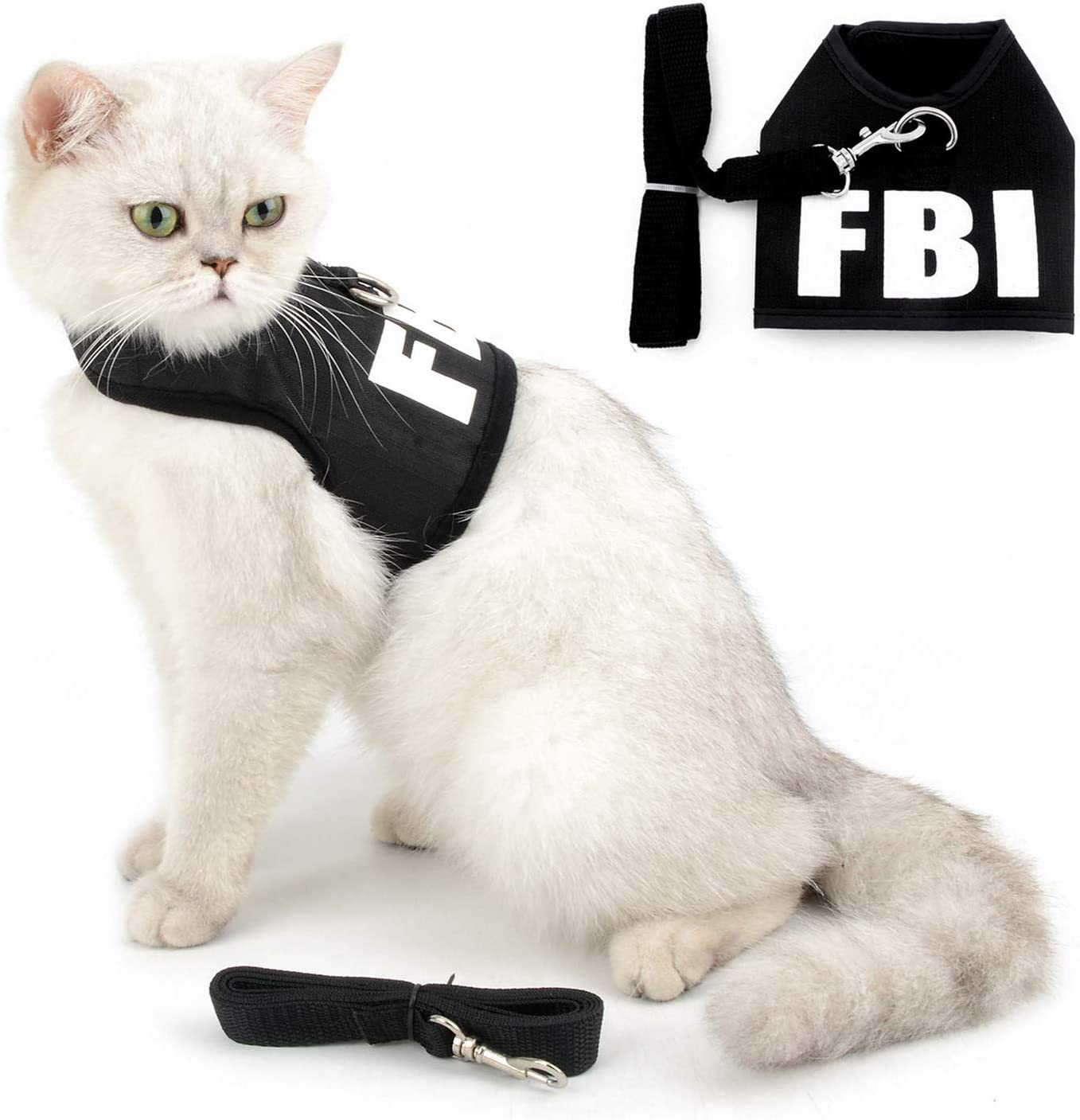 free SMALLLEE_LUCKY_STORE FBI Print Soft Mesh Ranking TOP6 and Harness S Leash Cat