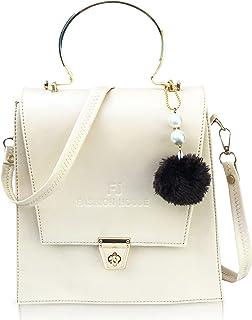 FJ Fashion House Pu Leather Sling Women Bags (White)