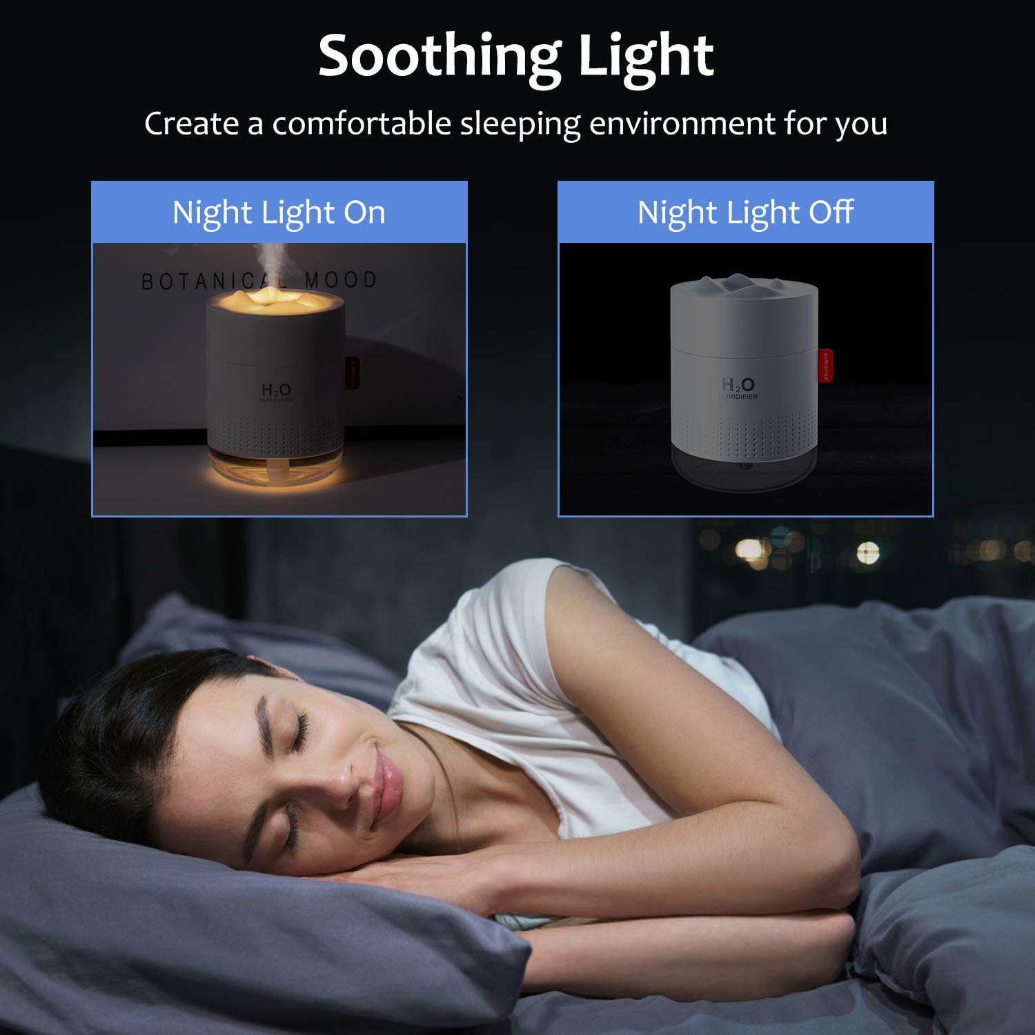Humidifiers, 500ML Humidifier for Bedroom with Night Light, Humidifiers for Home and Plants, Humidifiers for Baby with 10~16 Working Hours, Waterless Auto-Off, for Home Baby Office