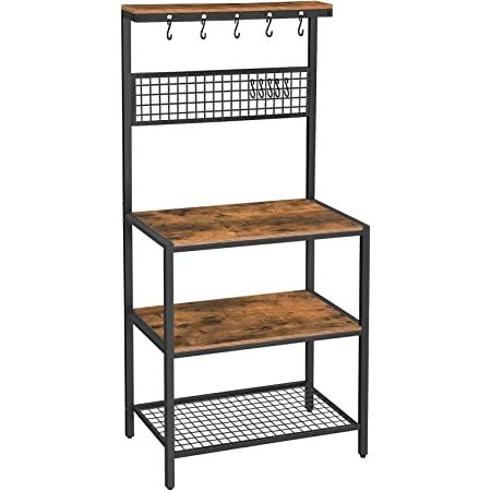 VASAGLE Bakers Rack, Coffee Bar, Kitchen Storage Shelf Rack with 10 Hooks, 3 Shelves, Adjustable Feet, for Microwave Oven, 33.1 x 15.7 x 66.9 Inches, Industrial, Rustic Brown and Black UKKS17BX