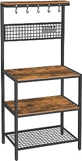 VASAGLE ALINRU Kitchen Bakers Rack Cupboard with 10 Hooks, Mesh Panel, 3 Shelves, and Adjustable Feet, for Microwave Oven Cooking Utensils, Industrial, Rustic Brown UKKS17BX