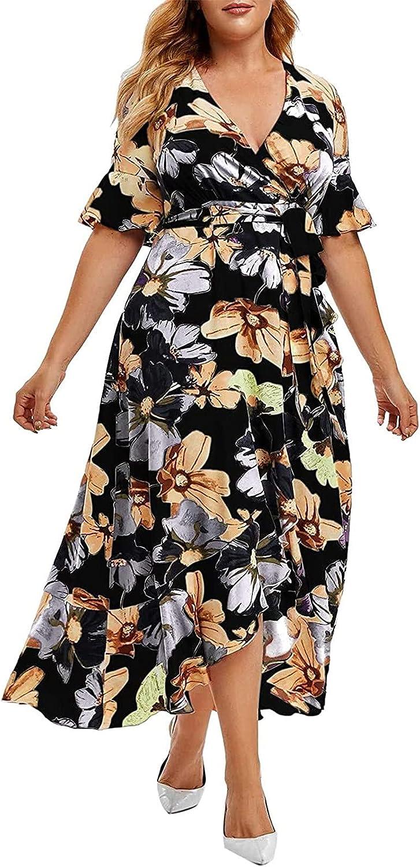 Women Plus Size New life Casual Short Sleeve Off Boho Slit Flowy Outlet SALE Shoulder
