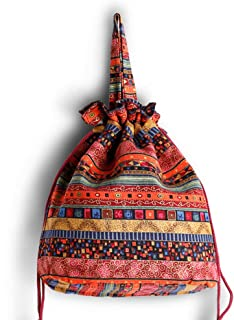 Ethnic Style Cotton Fabrics Handbag Multicolored Travel Women Everyday Mini Bucket Drawstring Bag