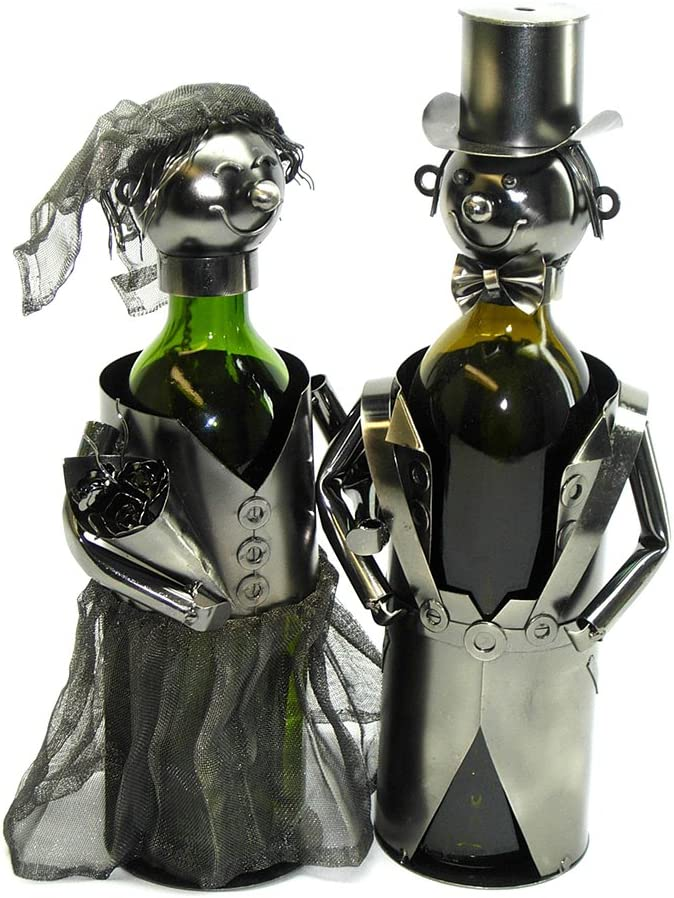 Be OFFicial super welcome WINE BODIES Just Married Bride Wine Holder Charcoal Bottle Metal
