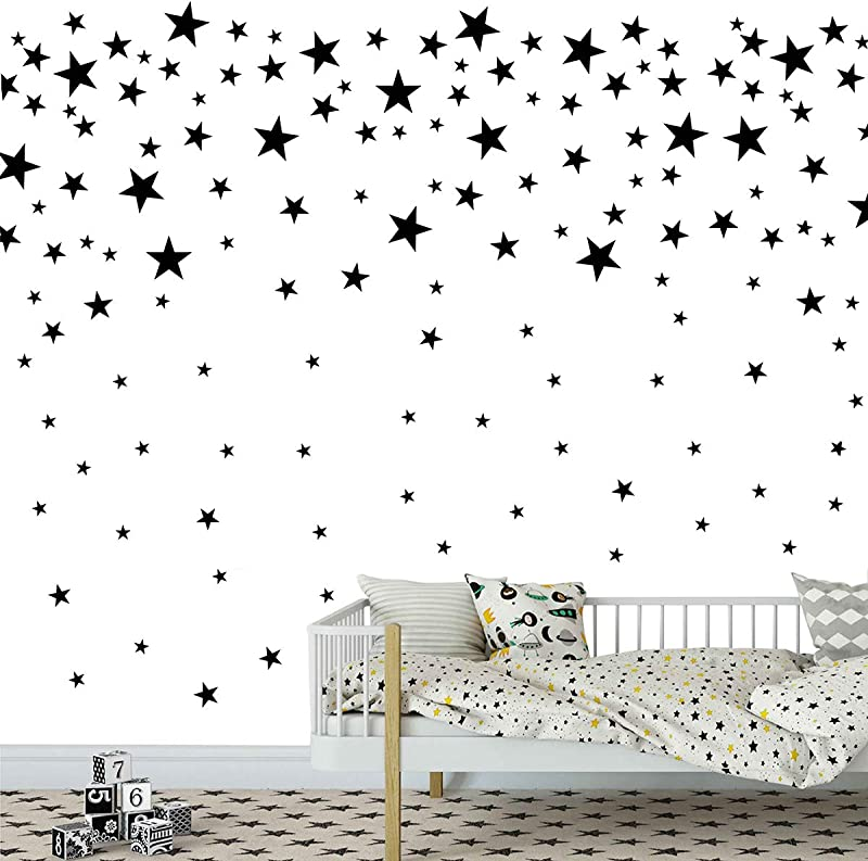 Melissalove 174pcs Mixed Size Star Wall Stickers Home Decor Bedroom Removable Nursery Wall Decals Kids DIY Art Decal 2 Colors Sticker JW343 Black