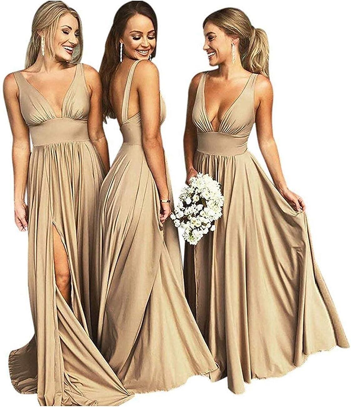 FRECASA Bridesmaid Dresses V-Neck Evening Dresses Empire Waist Satin Prom Gown with...