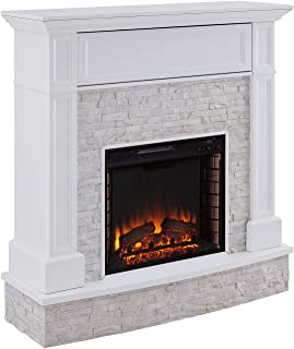 Southern Enterprises Jacksdale Fireplace, Rustic White