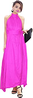 Lakkar Haveli Women's Long Dress Tunic Pink Color Indian Helter Neck Dress Casual Frock Suit Plus Size