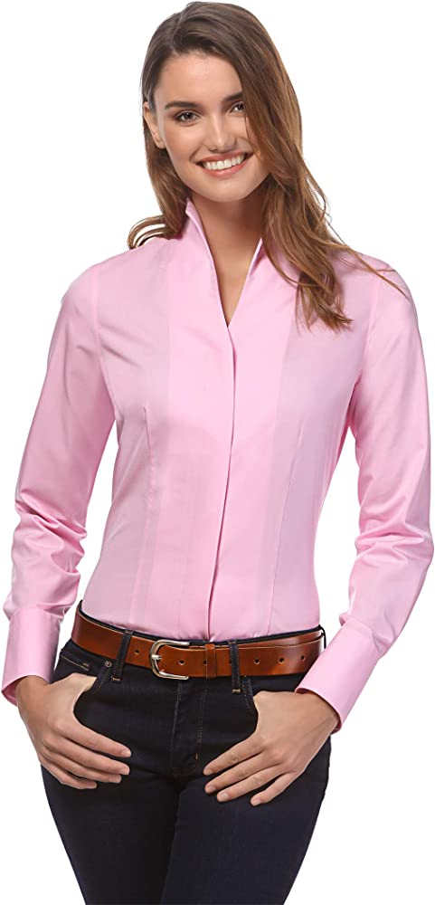 Vincenzo boretti camicia-blusa elegante a maniche lunghe per donna 100% cotone 10010794_3264