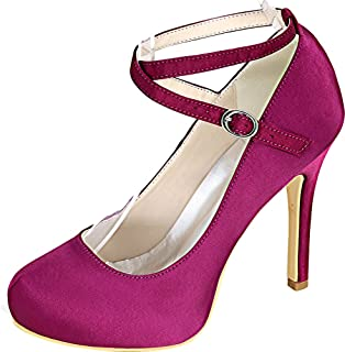 Vimedea Womens Round Toe Platform Heeled Ankle Starps Pump Wedding Dress Bride 6915-09
