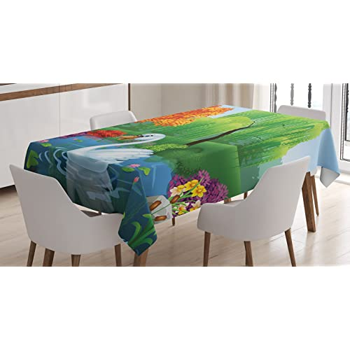 """Ambesonne Cartoon Tablecloth, Artwork of a Swan Floats on Mountain River in The Vivid Nature Springtime, Dining Room Kitchen Rectangular Table Cover, 60"""" X 84"""", Green Blue Fuchsia"""