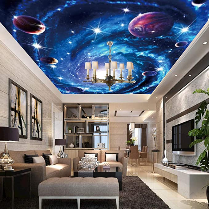 Customized Wallpapers 3D Stereo Living Room Sofa Bedroom TV Star Sky Sky Earth Moonlight Mural Decorative Background-350x250cm