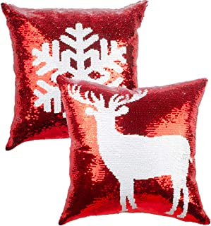 red sequin cushion