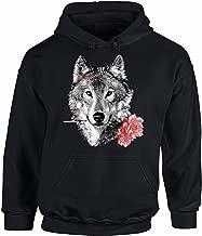 Awkward Styles Unisex Wild Wolf with Roses Hoodie Hooded Sweatshirts
