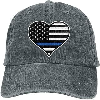 Men's Women's Adjustable Vintage Jeans Baseball Cap Police Thin Blue Line Heart Snapback Cap