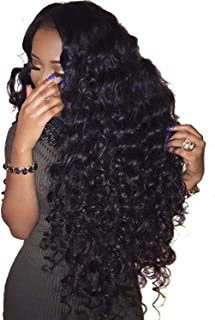 Hair 360 Lace Frontal Wig Pre Plucked With Baby Hair Brazilian Water Wave Curly Lace Front Human Hair Wig For Black Women,Natural Color,16inches,180 Density