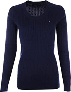 Tommy Hilfiger Womens Scoop Neck Cable Knit Sweater (X-Large, Navy)