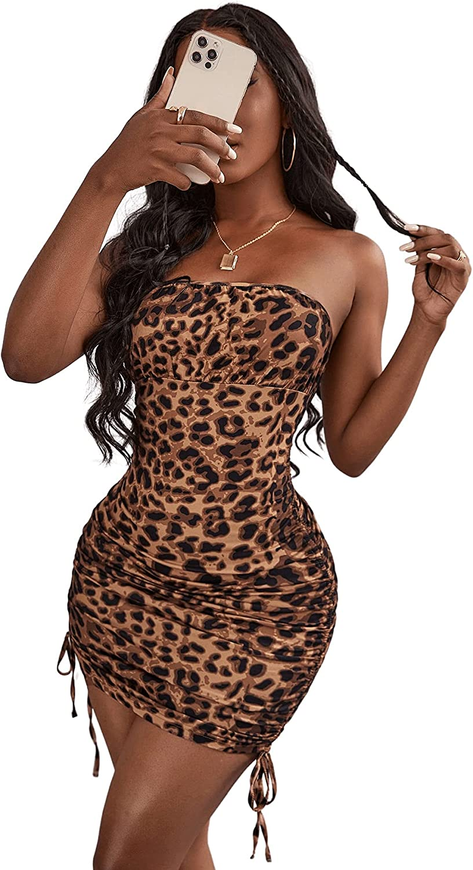 Verdusa Women's Leopard Print Ruched Drawstring Knot Side Tube Bodycon Dress