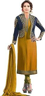 Sukhvilas Fashion Women's Georgette Satin Embroidery with Jacket Banglory Silk koti Semi Stitched Salwar suit
