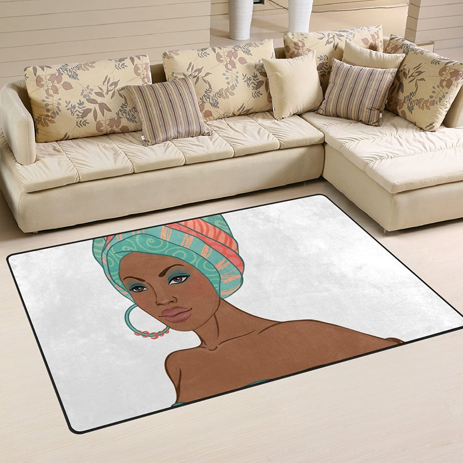 Area Rugs Doormats Gorgeous African Women 5'x3'3 (60x39 Inches) Non-Slip Floor Mat Soft Carpet for Living Dining Bedroom Home